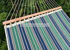 13 Ft Foldable  Sleeping Double Fabric Hammock With Spreader Bar Green Blue Strip