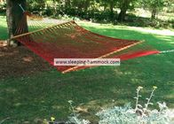 Double Size Soft  Home Polyester Rope Hammock With Spreader Bars Garnet Red